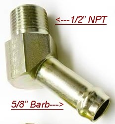 "Oil Drain / Return Fitting (1/2"" NPT 45 Degree to 5/8"" Barb)"