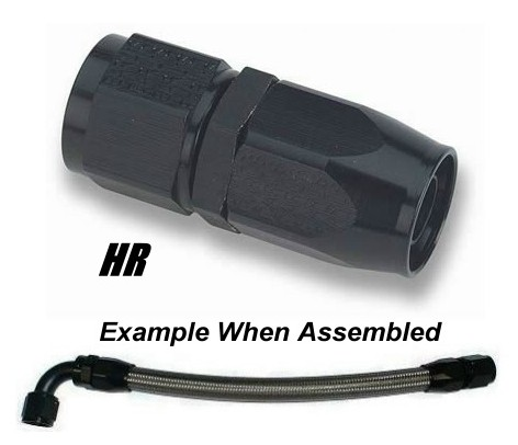-6 AN Straight Hose End - Black Anodized