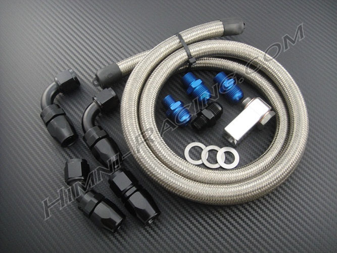 Braided Coolant Lines : Mazda fc rx ss braided oil cooler line hose kit