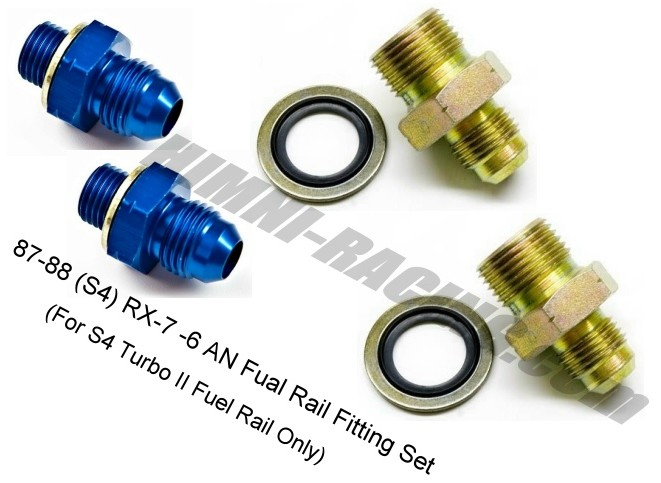 HR RX-7 Turbo II Fuel Rail Fitting Set - 87-88 -6 AN